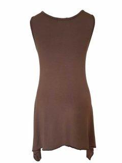 Plain sleeveless tunic – Light Brown