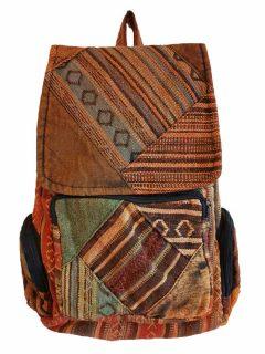 Pocket backpack – Brown patchwork