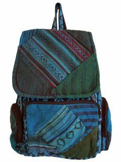 Pocket backpack – Blue patchwork