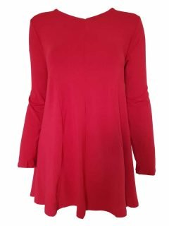 Plain long sleeved tunic – Red