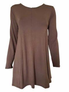 Plain long sleeved tunic – Brown