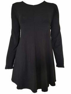 Plain long sleeved tunic – Black