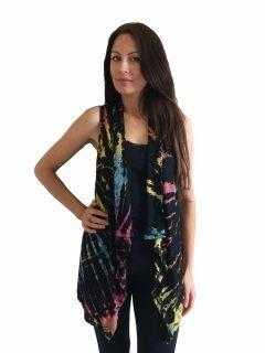 Sleeveless Tie dye Cardigan- Black and Multi