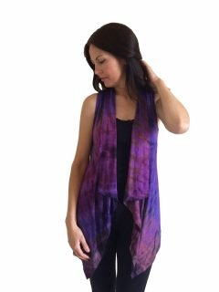 Sleeveless Tie dye Cardigan- Purple