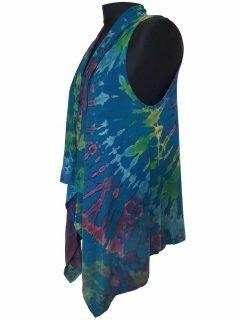 Sleeveless Tie dye Cardigan- Teal