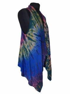 Sleeveless Tie dye Cardigan- Royal Blue
