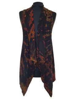 Sleeveless Tie dye Cardigan- Orange and Black