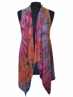 Sleeveless Tie dye Cardigan- Crimson