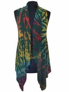 Sleeveless Tie dye Cardigan- Forest Green