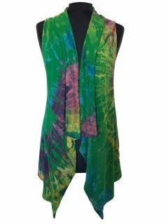 Sleeveless Tie dye Cardigan- Emerald Green