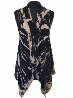 Sleeveless Tie dye Cardigan- Black and White