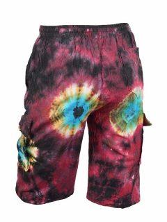 Tie Dye Shorts- Deep red