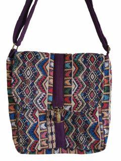 Geometric buckle bag – Purple Zigzag